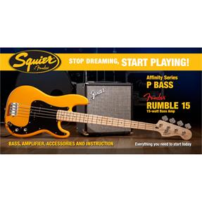 Squier Affinity Series Precision Bass Pack, MN Butterscotch Blonde, Gig Bag, Rumble 15 - 230V EU