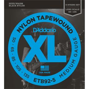 D'addario ETB92-5 Medium Black Nylon