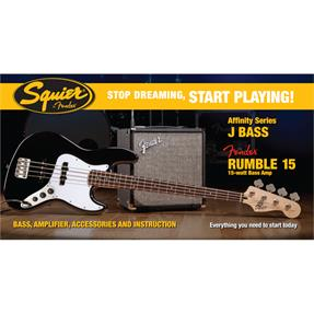Squier Squier Affinity Series Jazz Bass Pack, RW Black, Gig Bag, Rumble 15 - 230V EU