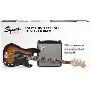 Squier Squier Affinity Series Precision Bass PJ Pack, IL Brown Sunburst, Gig Bag, Rumble 15 - 230V EU