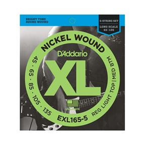 D'addario EXL165-5 Regular Light Top/ Medium Bottom