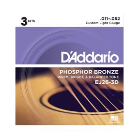 D'addario EJ26-3D Pack Custom Light Phosphor Bronze