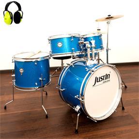 Justin Kinderschlagzeug 16 blau Komplettset - inkl. Gehörschutz