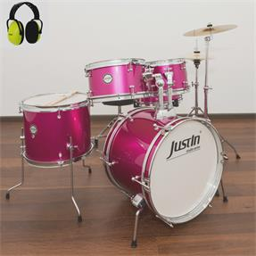 Justin Kinderschlagzeug 16 pink Komplettset - inkl. Gehörschutz