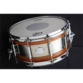 "Acoutin Custom Cherry Matte/Brushed Stainless Steel 14"" x 6"" Snare"