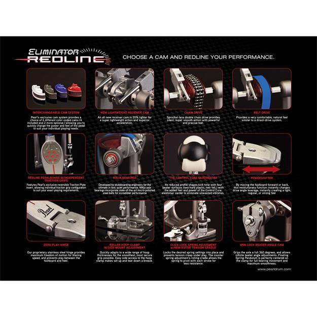 Pearl Eliminator Redline Chain Drive Bass Drum Twin Pedal P-2052C