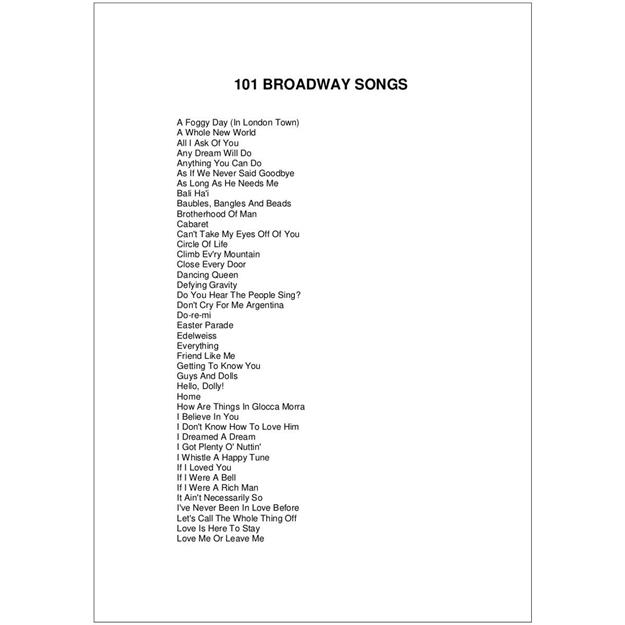 Hal Leonard 101 Broadway Songs