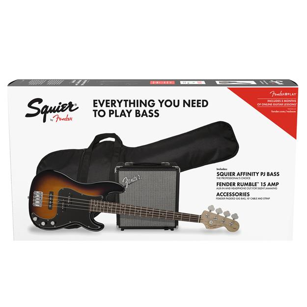 Squier Affinity Series Precision Bass PJ Pack, IL Brown Sunburst, Gig Bag, Rumble 15 - 230V EU