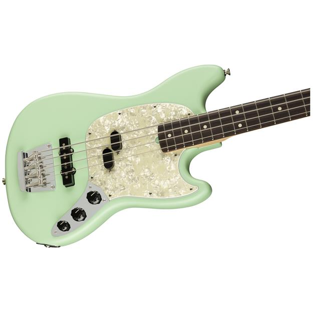 Fender American Performer Mustang Bass, RW Satin Surf Green