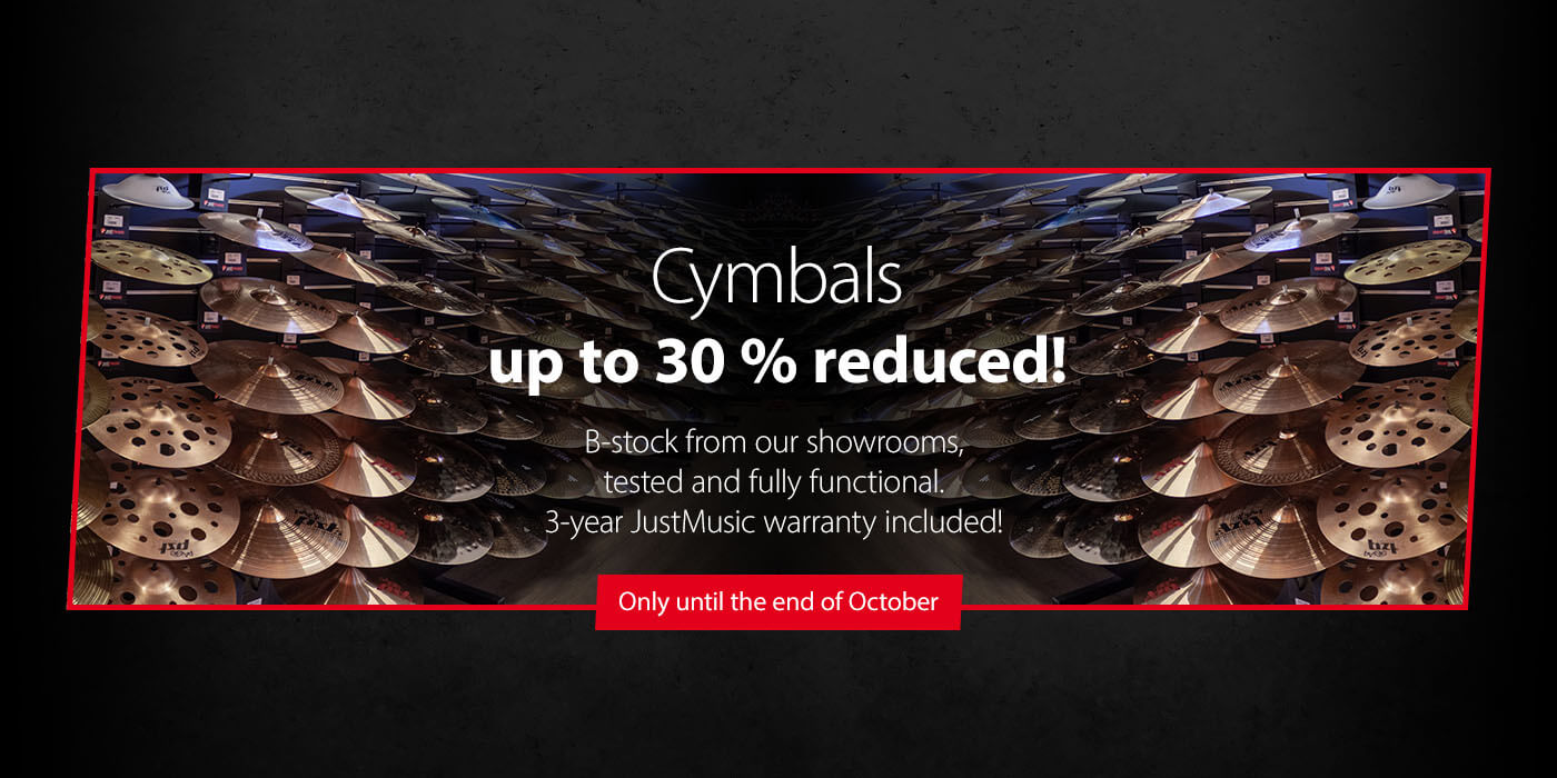 Cymbals from our showrooms up to 30 % reduced - Now at JustMusic