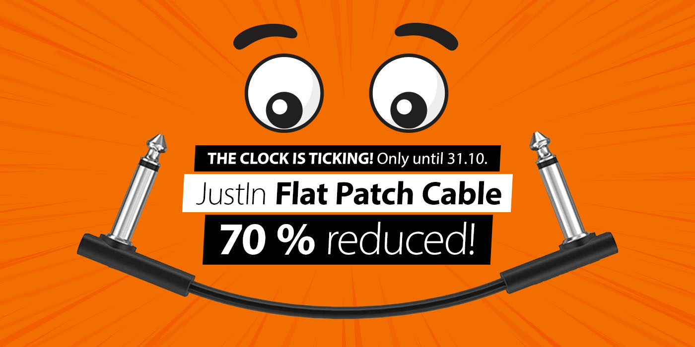 THE CLOCK IS TICKING! Only until 31.10. - JustIn Flat Patch Cable 70 % off! Only at JustMusic!